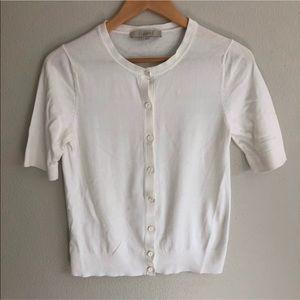Ann Taylor Loft Short Sleeve White Cardigan